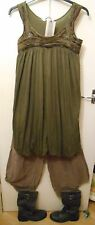 Lagenlook Layering Jersey Dress Balloon Puffy Khaki Green 8 10 12 bnwt