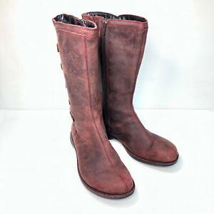 Merrell Captiva Launch 2 J69152 Maroon Leather Zip Mock Button Womens Boots Sz 8