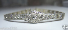 "Antique Vintage Diamond Bracelet Platinum 14K Yellow Gold 71/4"" Art Deco EGL USA"