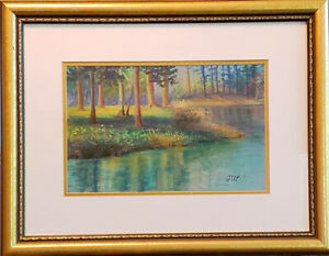 Cradleland of quietude. Original framed  pastel on paper painting from artist