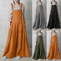 Womens Flare Wide Leg Pants Bib Overalls Dungarees Jumpsuit Loose Baggy Playsuit