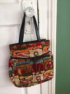 Vintage Carpet Bag Purse - Medium Size - Multicolor Funky Print
