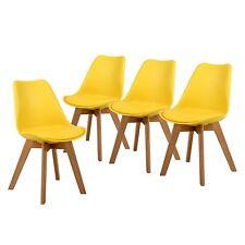 Ensemble de 4 chaises de cuisine en bois Tulip Retro rembourré, Jaune