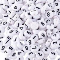 500 Weiß Acryl Zahlen Spacer Perlen Beads Flach Scheiben 7mm L/P Wholesale~