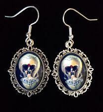 Skull Illusion Salvador Dali Antique Silver Drop Earrings Surrealist Ballerina