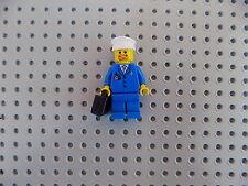 Lego Minifigure Town City Airport Airplane Pilot w/ White Hat, Black Briefcase