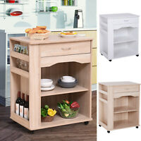 3-Tier Kitchen Serving Trolley Microwave Oven Utility Cart on Wheels w/ Drawer