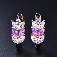 Elegant Purple Fire Opal&White Sapphire Leaf Wheat ears Leverback Stud Earrings