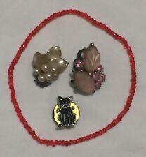 Cat Brooch – Pearl Amethyst Ladies Vintage Earrings, Bracelet & Enamel