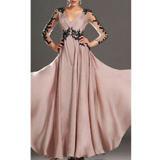Women's Evening Party Maxi Long Dress V Neck Prom Ball Gown Bridesmaid Dresses