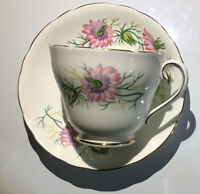 """Adderley Cup And Saucer """" Love In The Mist"""" Pink Flowers Green Gold Rim"""