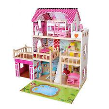 Casa Delle Bambole Legno XXL 3 Piani Puppenvilla Puppenstube di + Mobile + LED