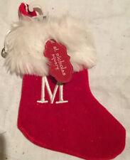 "St. Nicholas Square Velvet Monogram ""M"" Mini 7"" Red Initial Stocking. Christmas"