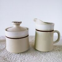 Carousel Stoneware Creamer & Sugar Set White And Cream Color Japan #801 Vintage