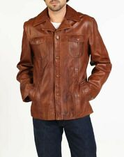 Men's hElium Leather Jacket - 'FABIO' Soft Tan Brown Leather - UK Med - RRP £300