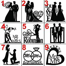 Personalized custom wedding cake topper laser cut black acrylic, silhouette gift