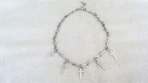 Cross Charm Choker Necklace Jewelry Barb Barbed Wire Chain Goth Punk Rock