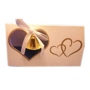 10 Wedding Place cards gold bell and double heart