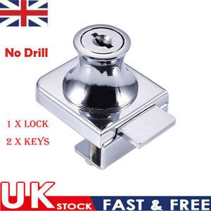 Showcase Lock Display Cabinet Glass Door Lock With 2 Keys for 5-8mm Glass Door