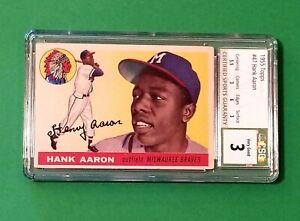 1955 Topps Hank Aaron #47 HOF Milwaukee Braves CSG 3 VERY GOOD PSA SUB GRADES