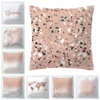 Pink Marble Throw PILLOW COVER Double Sided Sofa Decorative Cushion Case 18x18""