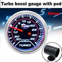 "Universal Car 2"" 52mm LED Turbo Boost Gauge Pod Vacuum Pressure 35 PSI Pointer"