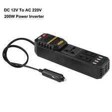 Pure Sine Wave Car Power Inverter DC 12V to AC 220V Converter with 4 USB Adapter