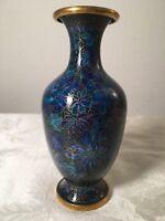 Chinese Blue Cloisonne Vase (Old Vintage China Asian Floral Flower Rose Brass)