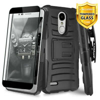 For LG Rebel Phoenix 4 Aristo 2, 3 Plus, Case TJS Saturn Holster+Tempered Glass