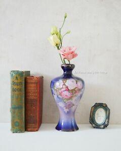 Vintage Porcelain Vase Blue Pink Roses Antique 18th Century Leeds Ware Vase