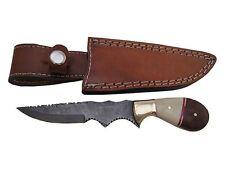 "Pioneer Custom Made DamascusSteel Hunting Knife With Brass Bolster 8"" Pt - 198"