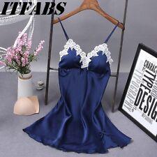 Women Satin Lace Lingerie Dress Babydoll Underwear Nightwear Sleepwear Plus Size