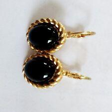 Boucles d`Oreilles Dormeuse Doré Ovale Noir Simple Class Retro CC10