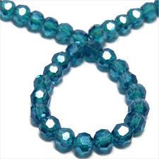 Lot de 50 perles à FACETTES 4mm en Cristal de Bohème Bleu Vert