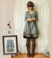 New Japanese Vintage Mori Girl Sweet Lolita Loose Fairy Elegant Princess Dress#