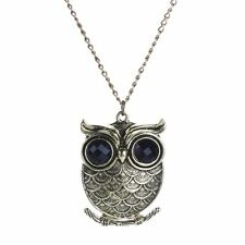 Vintage Women Carved Alloy Metal Owl-Shaped Dangle Pendant Golden Chain Necklace