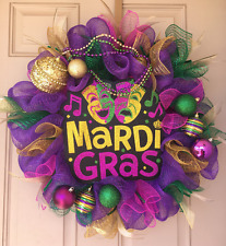 Mardi Gras Decor Wreath with Awesome Glittered Sign, Gorgeous Ball Ornaments