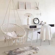 More details for hanging macrame hammock chair cotton woven rope swing chair seat beige ace