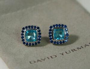 David Yurman 925 Silver 585 BLUE Topaz Sapphire Halo ALBION Stud Earrings Pouch