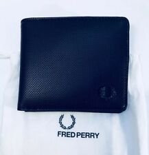 Fred Perry Pique Texture Billfold Wallet Black With Dust Bag