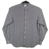 Billy Reid Blue Brown White Linen Cotton L/S Standard Cut Shirt Size Medium
