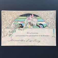 Vintage Art Deco Christmas Greeting Card 1920s, Embossed, Gilt, Castle, Pastels
