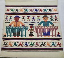 "vintage needlepoint picture w/ Marimba Players & Dancer Cats & Cowboys 22"" x 23"""