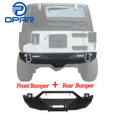 OPAR Front and Rear Bumper+D-Rings+Winch Plate+Led Light for Jeep Wrangler 07-18