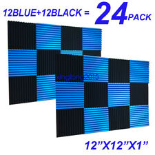 24 Pack BLUE BLACK Acoustic Panels Studio Soundproofing Foam Wedge tiles 1x12x12