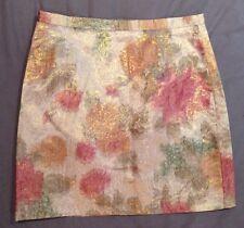 Size 8 10 Mini Skirt Metallic Pink Green Gold Brown Floral Pattern Formal