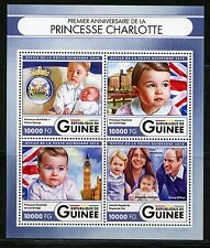 GUINEA 2016 FIRST BIRTHDAY PRINCESS CHARLOTTE WITH KATE ,WILLIAM & GEORGE  SHEET