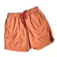 TOMMY BAHAMA RELAX Men's Swim Trunks Cargo Shorts Orange Embroidered SIZE S