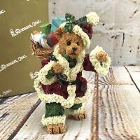 "Santa Teddy Bear 4"" Figurine Basket Rucksack Christmas Gift Home Decor Roman Inc"