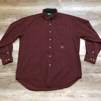 Tommy Hilfiger Long Sleeve Button Up Shirt Men's Size Large Red Blue Plaid